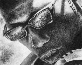 Blade Wesley Snipes Marvel Original Pencil Drawing Fantasy Vampire Portrait Dark Realistic