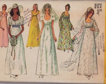 Vintage Simplicity 9936, Wedding Dres, Bridesmaid Dress, Sewing Pattern, 1970s