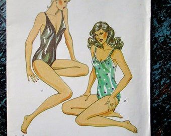 Swimsuit tank style v neck scoop neckline crossed straps vintage 80s Kwik Sew 1220 sewing pattern uncut women small medium large 6 8 10 12