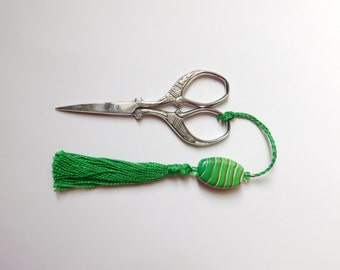 Scissor Fob with tassel and polymer clay bead, beaded tassel scissor charm