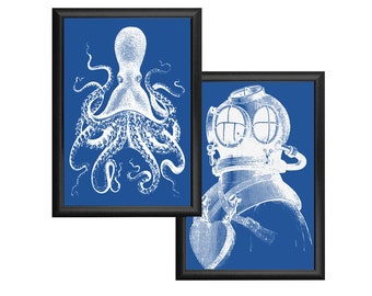 Octopus and Deep Sea Diver Blue and White Nautical Vintage Style Print Set Beach House Decor