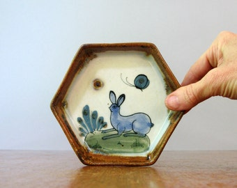 Vintage Tonala / Ken Edwards Dish / Coaster - Rabbit / Butterfly Hexagon