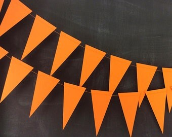 Orange Pennant 6ft Garland: Rainbow Birthday Party, Halloween Bunting, Photo Backdrop, Carnival Birthday Party, Classroom Decor