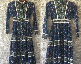 Vintage 1970's Blue Calico Gunne Sax Dress XS XXS