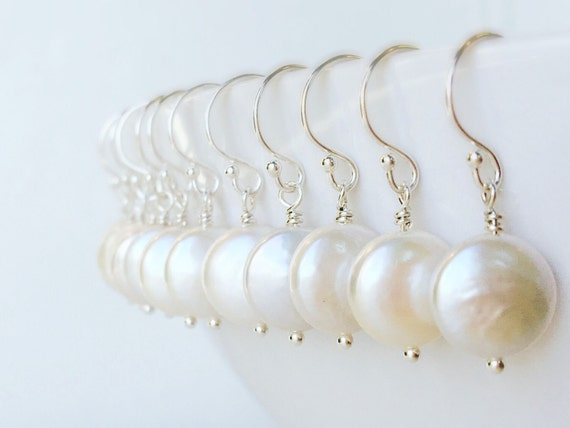 Bridesmaid Gifts, Set of SIX Pairs Coin pearl earrings, six sets freshwater pearl earrings, Silver OR Gold, Bridal jewelry, bridesmaid gifts