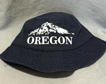 Navy Oregon Bucket Hat, Mt. Wy'east, Mt. Hood, Beach Hat