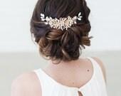 Gold Wedding Headpiece, Wedding Hair Vine, Crystal Beaded Headpiece, Gold Bridal Hair Comb, Bridal Hair Accessories, Bridal Hair Clip