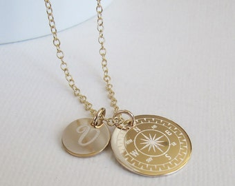Gold Compass Necklace, Personalized Compass, Best Friend Necklace, Travel Gift Ideas, Graduation Gift, Steampunk Necklace, Retirement Gift