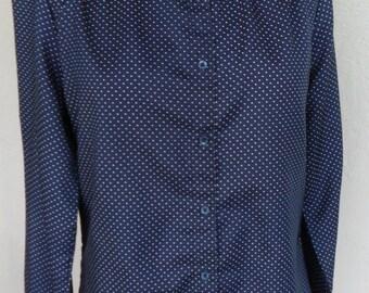 Vintage Ship 'n Shore Blouse Polyester Size 12 Polka Dot Spring Fashion