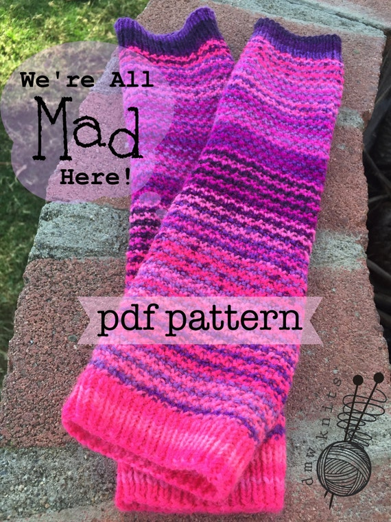 Knitting Patterns For Beginners Arm Warmers : Were All Mad Here arm warmers knitting pattern pdf