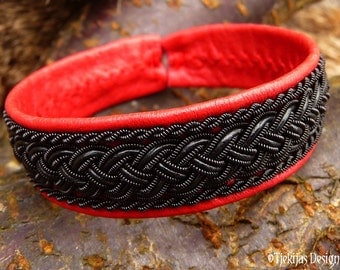 Sexy Red Black Viking Vamp Gothic Bracelet GIMLE Sami Cuff Handcrafted with Ebony Wire and Leather Braid on Blood Red Reindeer Leather
