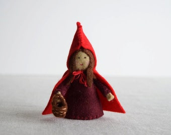 Red Riding Hood Finger Puppet Sewing Pattern - DIY Mini plushie pattern for felt Little Red Riding Hood soft toy
