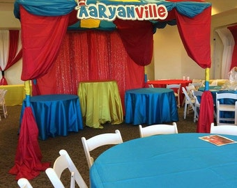 Custom Dr. Ville Birthday Backdrop - Party Printable Sign - DIY Print - Custom Printable backdrop with red & white hat and whimsical letters