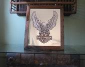 Harley Davidson Mirror, Vintage screaming eagle print, great shape, wooden frame