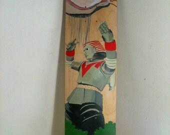 Skateboard, skate deck, Johnny Sokko's Flying Robot, custom hand painted by Juliet Jaeger, unique