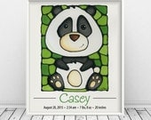 Panda Bear Custom Print with Birth Details, Baby Announcement, Nursery Art, 8 x 10 inch - FREE SHIPPING in Canada