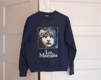 Vintage 1986 Les Miserables Navy Blue Sweatshirt, Size M / ITEM517