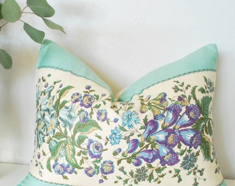 "Turquoise Pillow Cover, Purple Floral Vintage, 14""x18"", Vintage Pillow Cover, Vintage Floral Fabric, Vintage Turquoise Fabric"