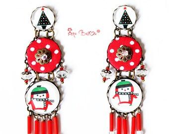 Christmas Earrings -Boho Earrings- Holiday Earrings - Christmas Gift- Christmas Gift Ideas  - Christmas tree- Penguin Earrings