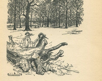 Arthur Rackham Illustration Peter Pan in Kensington Gardens,  Black and White Vintage Print