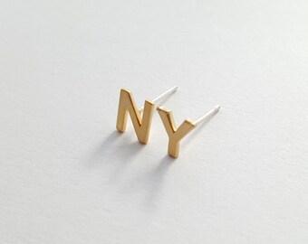 40% SALE, New York earrings, NY earrings, Silver post earrings, Letter earrings, New York city, Tiny earrings, Gold earrings,Silver earrings