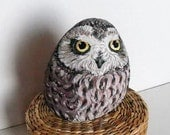 Hand Painted Stone Owl Feather Bird .River rock Artwork Paperweight Home Garden Decor. 3D animal.