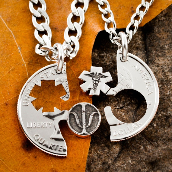 Psychology Necklace Psi And Caduceus Symbols Couples Jewelry