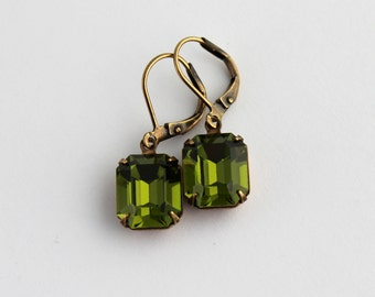 Olivine earrings, Green Swarovski earrings,  Olive earrings, Olivine Swarovski earrings, olive wedding, octagon earrings, Wedding earrings,