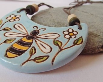 Ceramic Pottery Crescent Bee and Flowers Pendant Necklace  With Wooden Bead, Artisan Jewelry, Statement Jewelry, Summer Jewelry, Bee Jewelry