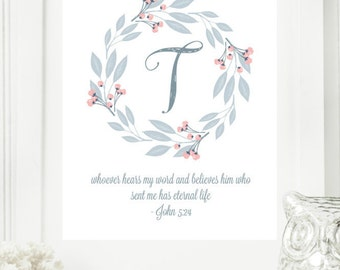 "Instant ""Monogram Scripture"" Wall Art Print 11x14 Typography Letter ""T"" Printable Home Decor"