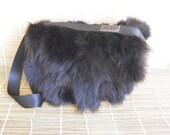Vintage Black Fur Grey Brown Leather Shoulder Strap Bag