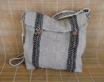 Vintage  Off White Black Stripes Shepard Shoulder Strap Bag Purse Cross Body
