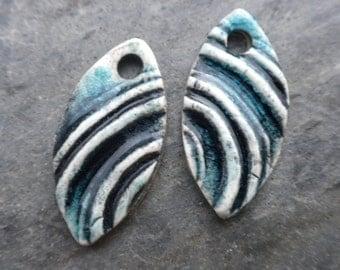 Ripple- handmade artisan ceramic tribal earring bead pair black aqua 1888