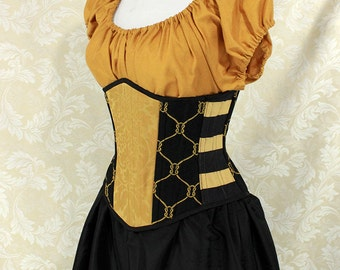 "Badger Wizard House Inspired Steampunk Black/Gold Waspie Corset w/Solid Front -- Corset Size 26, Fits Waist 29""-31"" -- Ready to Ship"