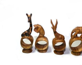Napkin Rings Wood Napkin Rings Wood Napkin Holders Animal Napkin Rings Set of 8 Giraffe Safari Napkin Rings