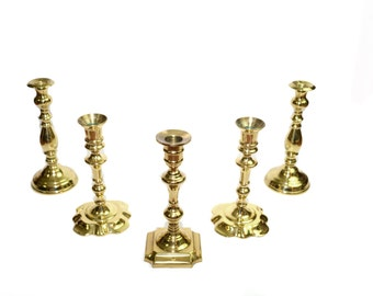 Brass Candlesticks Brass Candle Holders Brass Candles Set of 5 Brass Candlestick Holders Gold Wedding Candlesticks