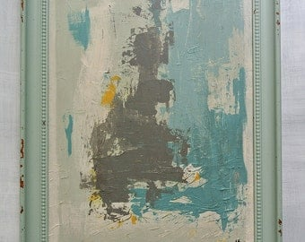 """Large Framed Original Abstract Painting on Canvas.  Titled:  """"Peace"""", 22 by 28"""