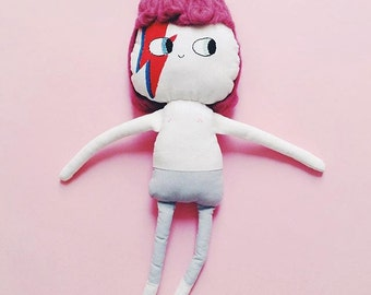Bowie Doll[BIG]/// David Bowie tribute doll- Aladdin Sane - Ziggy Stardust/ fabric toy, handmade doll, rockstar