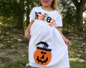Personalized Pumpkin Dress, Long Sleeved or Short, 3-6m to 8yrs