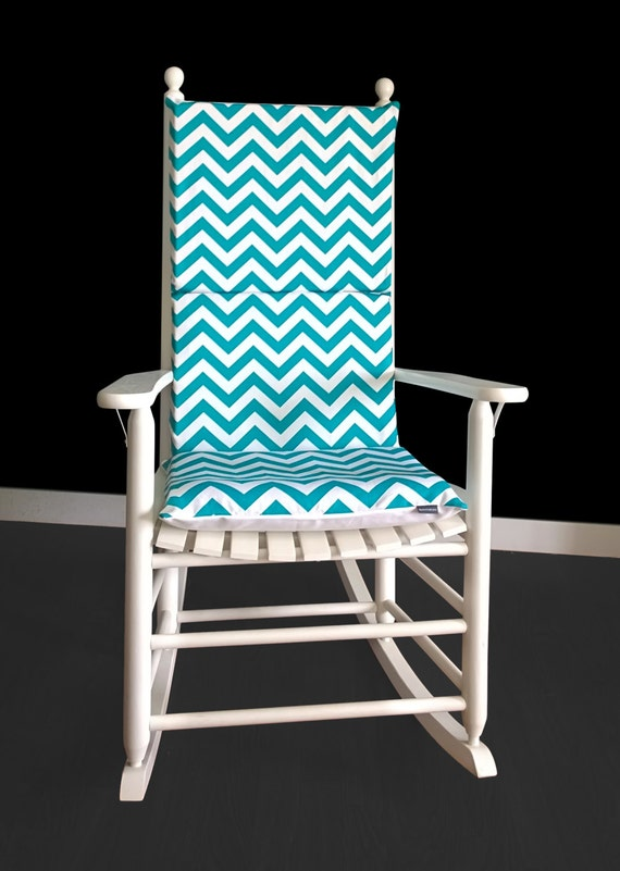 Turquoise Chevron Zig Zag Rocking Chair Cushion
