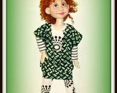 "Handmade Doll Clothes fit 19"" BJD by Kim Arnold, ""New Math"" 3 Piece Outfit for Trinket Box Kids Dolls, Green Black and White"