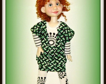"""Handmade Doll Clothes by traveller240 for 19"""" Trinket Box Kids BJD by Kimberly Arnold, Black and White Bodysuit, Green Print Jacket, Skirt"""