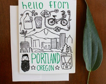Greeting Card - Portland Oregon - Hello From - gift, PNW, beards, bikes, beers, Mt. Hood, City, Hipster