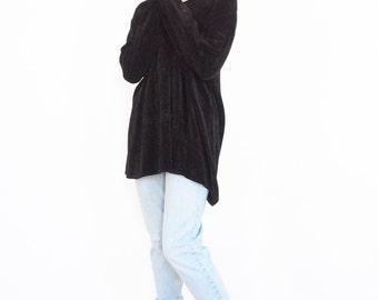 90s Oversize Black Loose Knit Sweater / Grunge Jumper
