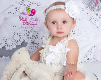 Baptism Outfit 4 or 5 pc SET White Petti Romper- Baby Girl Rompers - Christening Dress- Lace Romper - White Baptism Dress - Lace Baby Romper