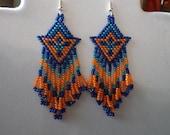 Native American Beaded Arrow Blue, Turquoise and Orange Southwestern, Brick Stitch, Peyote Boho, Hippie, Gypsy, Great Gift Ready to Ship