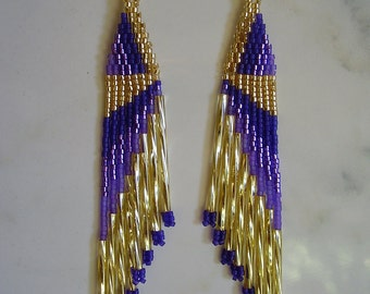 Native American Style Beaded Gold, Dark Purple, Light Purple Earrings with Twisted Gold Bugles Southwestern, Hippie, Boho Great Gift