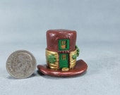 Handcrafted Miniature Fairy House In An Irish Derby Hat OOAK by O'Dare