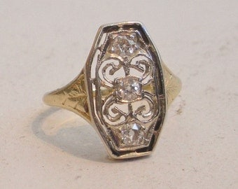 Diamond and Gold Engagement Ring - Three Stone Ring - Antique Diamond Cluster Ring