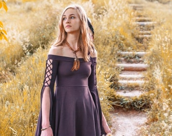 Damsel Dress ~ Elven Forest, Festival Dress, Boho, Bohemian, Gypsy Wanderer, Renaissance Dress, Elven Dress, Romantic